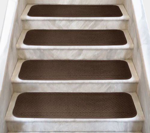 12 Attachable Carpet Stair Treads - Chocolate Brown - 8 In. X 30 In. - Several Other Sizes to Choose From