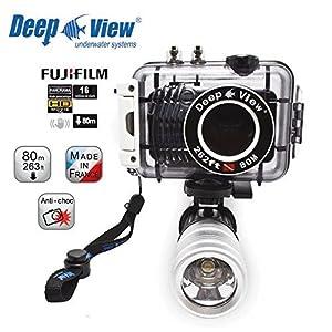 Underwater digital camera bundle DISCOVER Light : Fujifilm jx580 EXR (16MP) + Waterproof housing 263 Feet + Flashlight LF300W