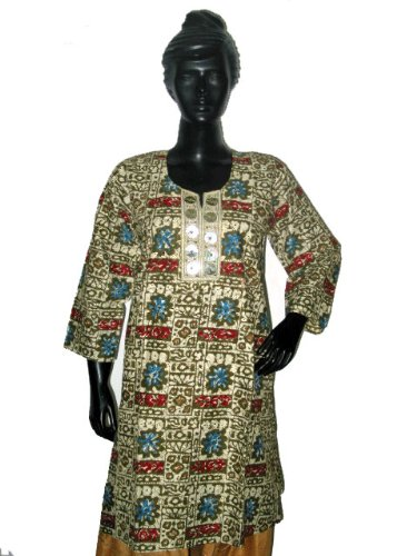 Christmas Gift- Printed Designer Beige Green Cotton Kurti Coverup Clothing of India Casual Dresses Neckline Embroidery Size M
