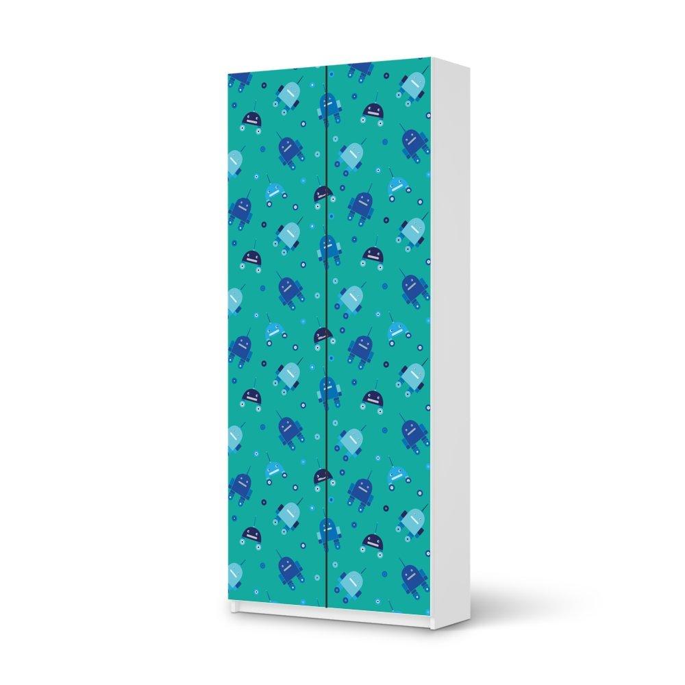 Folie IKEA Pax Schrank 236 cm Höhe – 2 Türen / Design Aufkleber Robots – Blau / Dekorationselement jetzt bestellen