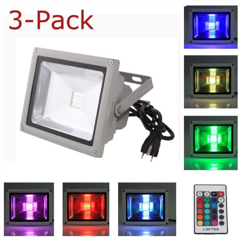 3-Pack Loftek® 10W Waterproof Outdoor Security Led Flood Light Spotlight High Powered Rgb Color Change(16 Different Color Tones) With Plug And Remote Control Ac85V-265V , With 1 Meter Power Plug, 810Wfl