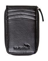 WalletBe Adult Zipper Front Pocket Outer ID Wallet Black