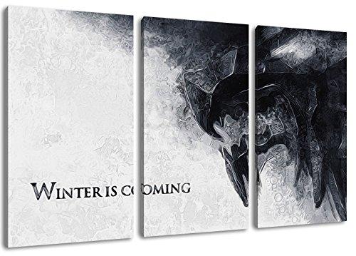 L'inverno sta arrivando, Game of Thrones foto, 3 pezzi tela (Dimensione: 120x80 cm), stampa artistica di elevata qualità, come un murale. Più economico di un dipinto ad olio! ATTENZIONE NO poster!