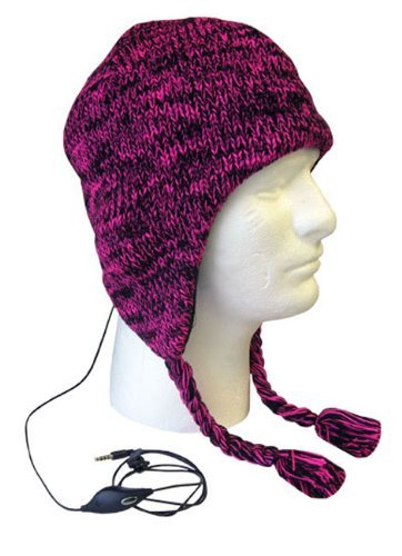 Boss Tech Products, Inc. Btp-Hat-Blkpnk Aviator Style Knit Hat With Earflaps And Built-In Stereo Headset - Retail Packaging - Pink