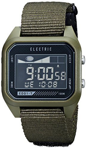Electric Men'S Ew0120020031 Ed01 Tide Nato Band Digital Display Japanese Quartz Green Watch