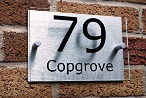 House Number Sign/Plaque Brushed Aluminium & Acrylic