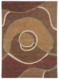 Area Rug, Tan Modern Abstract Wool Handmade Carpet, 4-Feet X 6-Feet