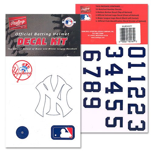 New York Yankees MLB Batting Helmet Decal Kit (Includes Official Team Logos Stickers, MLB Logo & Numbers for Youth Little League Players to Adult Recreation Players
