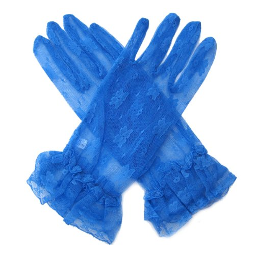 SACASUSA (TM) Short Wrist Sexy Lace Gloves in Royal Blue one size