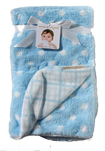 Blankets & Beyond Soft Reversible Blue White Polka Dots & Blue White Plaid Baby Blanket - 1