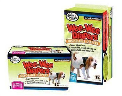 Four Paws 100204283 Wee-Wee Dog Diapers, Small-12-Pack