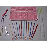 Complete All-In-One Crochet Kit with Crocheting Tools and Hooks. 34 Items in a Super Awesome Design, Compact and Stylish Case. Perfect Travel Kit and for Home. Suitable for Beginners and Experts. Everything You Need For Crocheting Is In This Set. The Contents of the Case Include 12 Aluminium Crochet Hooks, 10 Stitch Markers, 2 Aluminium Stitch Holders, 6 Crochet Yarn Needles, 1 Row Counter, 1 Soft Flexible Measuring Tape, 1 Crocheting Needle Gauge and Ruler and 1 Pair of Folding Scissors.