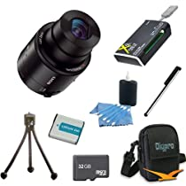 Sony DSC-QX100 DSC-QX100 DSCQX100/B QX100 DSC-QX100/B Smartphone Attachable Lens-style Camera Bundle with 32GB High Speed Micro SD Card, Spare Battery, All in one Card Reader, Tabletop Tripod, Smartphone Stylus, Carrying Case, and Lens Cleaner