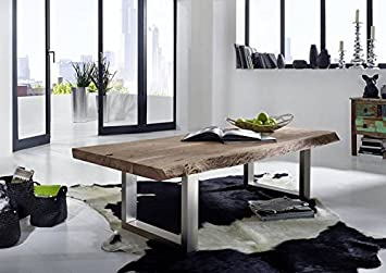 Muebles de madera de acacia maciza madera maciza mesa de 160 x 70 muebles de madera maciza lacada rústico Natural Stone Freeform #121