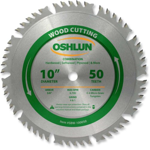 Oshlun SBW-100050 10-Inch 50 Tooth 4 and 1 Combination Saw Blade with 5/8-Inch Arbor (Tamaño: 50 Tooth Combination)