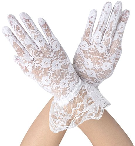 Wedding Dress Preservation Uv Protected: TAUT Women's UV Protection Lace Wedding Dress Gloves,White