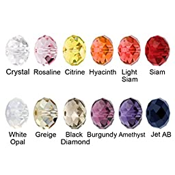 Beadnova 3mm Briolette Glass Beads Faceted Rondelle Crystal Glass Beads For Jewelry Making Findings with Container Box Wholesale Mix Lots (1200pcs)