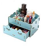 Kobwa(TM) Light Blue Multi Compartments Mini Sleep Soundly Desktop Drawer Box Organizer Wood DIY Desk Storage with Kobwa's Keyring