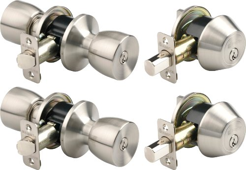 Brinks 2798-119 Bell Style Keyed Alike Door Knob and Deadbolt Set, Satin Nickel, 2-Pack (Door Lock Sets Keyed Alike compare prices)