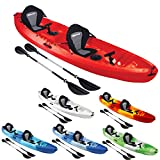Bluewave Double +1 Sit On Top Fishing Kayak | With 4 Rod Holders, 2 Storage Hatches, 2 Padded Seat & 2 Paddles (Red)