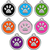 CNATTAGS Personalized Engraved Designers Round Paw Pet ID Tag Dog Tag Cat Tag (Black)