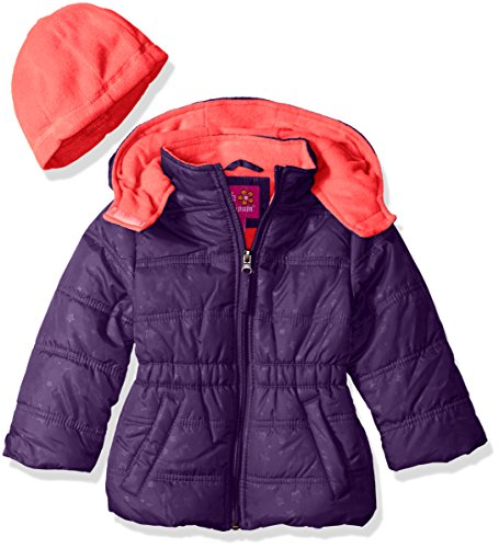 Pink Platinum Girls' Little Girls' Star Printed Puffer with Hat, Purple, 6X (Platinum Hats compare prices)
