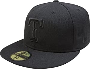MLB Texas Rangers Black on Black 59FIFTY Fitted Cap by New Era