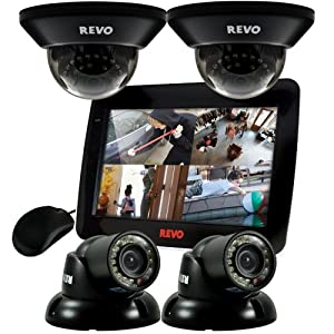 Revo R4D2GT2GCMB-1T 4-Channel 1TB DVR Surveillance System with 10.5-Inch Built-In Monitor and 4 700TVL 100-Feet Night Vision Cameras (Black)