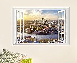 3D Window City View Art home decor Wall sticker Wallpaper wall decals Mural