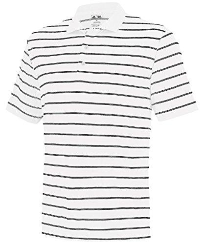 adidas Golf Men's Puremotion(tm) 2-Color Stripe Jersey Polo '15 White/Black Polo Shirt XL