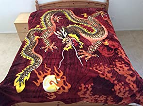 Asian Dragon with Fire Ball Mink Style Queen Size Soft amp Warm Blanket