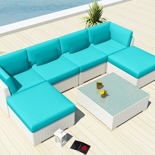 Uduka Outdoor Sectional Patio Furniture White Wicker Sofa Set Diani Turquoise