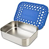 LunchBots Uno Reusable Stainless Steel Lunch Container, Stainless Steel Lid, Blue Dots Cover, Dishwasher Safe