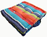 Multi coloured Stripe Floor Cushion - 100% Cotton - 40 x 40 x 10 cm Square - Indoor - Garden - Dining chair booster Seat Cushion Pad