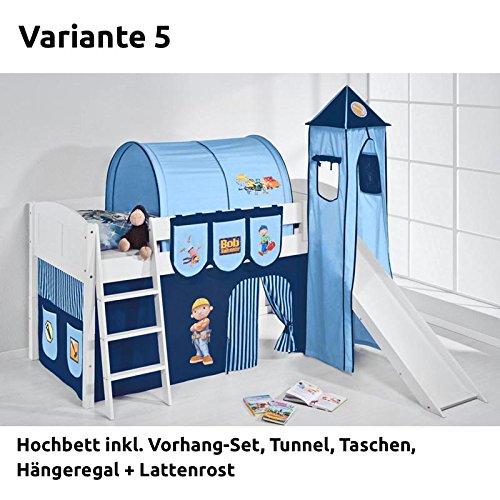 Hochbett Spielbett IDA Bob der Baumeister, mit Turm, Rutsche und Vorhang, weiß, Variante 5