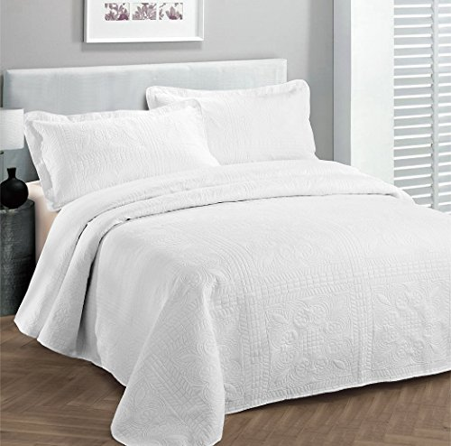 Best Deals! Fancy Collection 3pc Luxury Bedspread Coverlet Embossed Bed Cover Solid White New Over S...