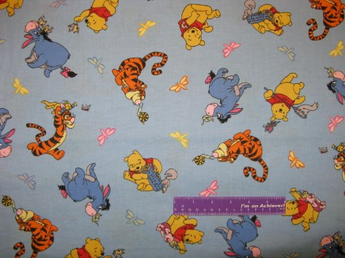 """43"""" Winnie The Pooh Dragonfly Blue Cotton Fabric By The Half Yard front-19927"""