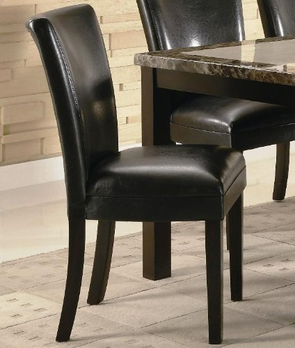 black friday set of 2 parson dining chairs in black faux leather cheap