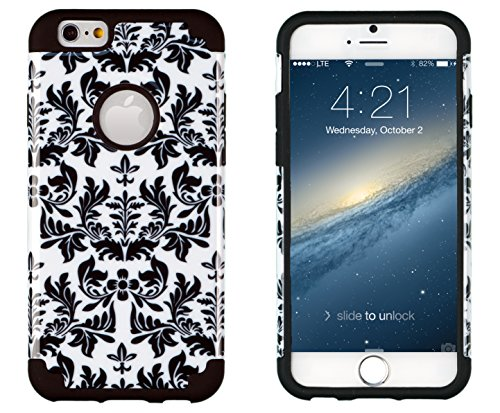 """Iphone 6, Dandycase 2In1 Hybrid High Impact Hard Black & White Flower Pattern + Silicone Case Cover For Apple Iphone 6 (4.7"""" Screen) + Dandycase Screen Cleaner"""