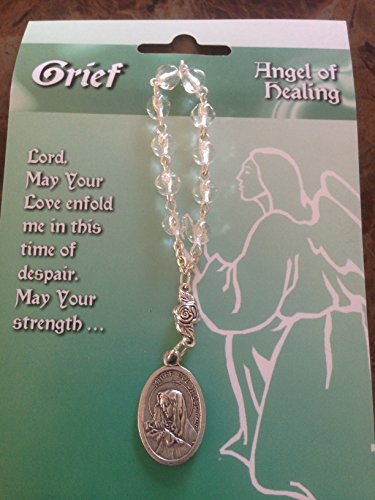 One Decade ROSARY BEADS - GRIEF Angel of Healing Grieving - w/ Prayer Card GIFT - 1