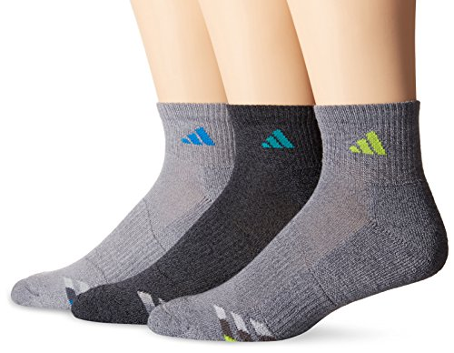Adidas Men's Cushioned Quarter Socks (3 Pack), Large, Grey-Clear Onix Marl/Shock Blue | Black-Onix Marl/EQT Green | Onix-Light Onix Marl/Semi Solar Slime
