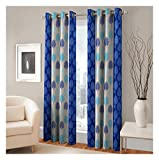 FASHIONFAB 2 Piece Polyester Long Door Curtain - 9ft, Blue