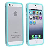 eForCity® Bumper TPU Case with Aluminum Button Compatible with Apple® iPhone® 5 / 5S, Clear / Sky Blue Reviews
