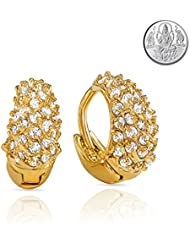 Mahi CZ Collection Gold Plated CZ Stones Hoop Earrings For Women With Free Silver Laxmi Coin ER1100346GCI