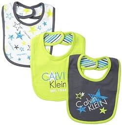 Calvin Klein Baby Boys\' Bibs, Lime/Dark Gray, One Size (Pack of 3)