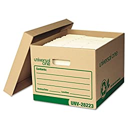 Recycled Record Storage Box, Letter/Legal, 12 x 15 x 10, Kraft, 4/Carton