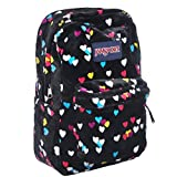 "JanSport Womens Classic Mainstream High Stakes Backpack - Black First Love / 16.7""H X 13""W X 8.5""D"