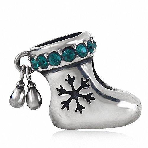Calza di Natale europea Charm in argento Sterling 925con cristalli austriaci per 3mm Serpente Braccialetto a catena green