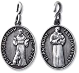 Saint Anthony St Francis 1 1/4 Inch Pewter Catholic Christian Pet Collar Medal Pendant