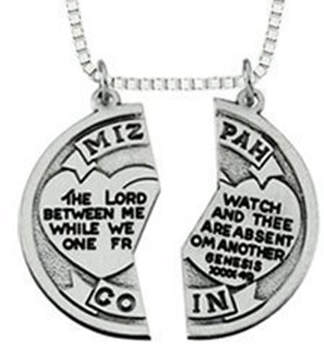 """Mizpah"" Coin Pendant with Chain 2-piece Break Apart Heart Silver Tone Charm ,Two,20″steel Necklace"